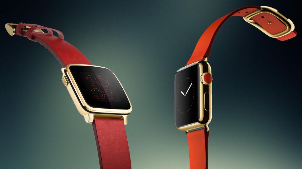 Pebble Time Steel (Izq.) Apple Watch (Der.)